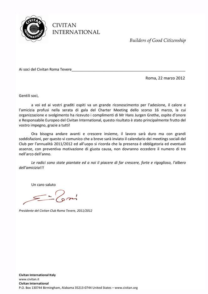 Lettera di ringraziamento del Presidente per il Charter Meeting 16 marzo 2012
