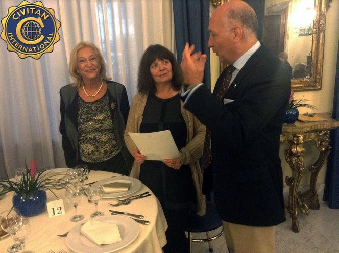 Il Past president Franca Itri, la Manager del Civitan European Office Mrs Monika Dillschneider ed il Presidente Gianni Rossi