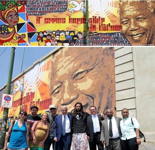 Il murale dedicato a Nelson Mandela