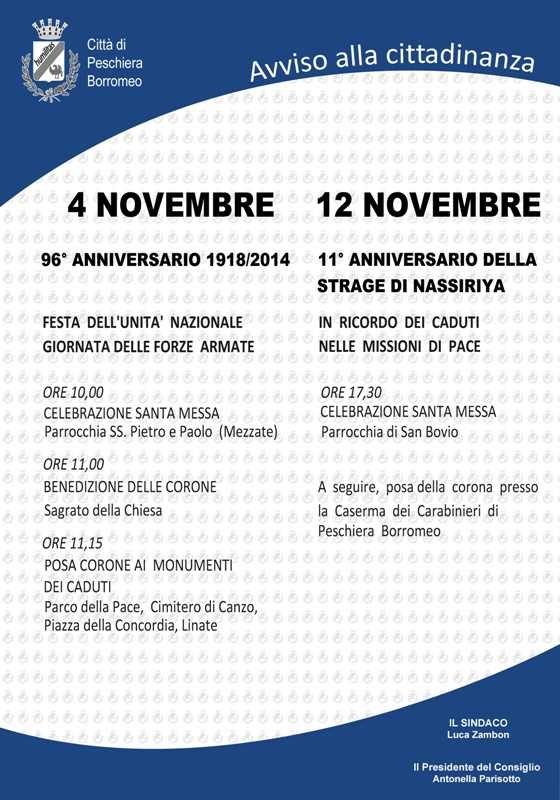 Le commemorazioni del 4 e 12 novembre