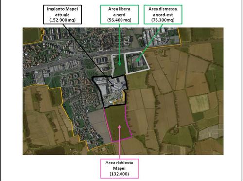 L'area dove sorgerebbe il nuovo quartier generale della Mapei -Credits Legambiente