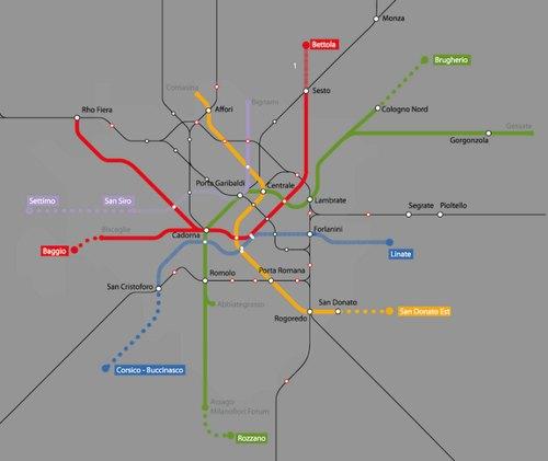 La mappa della rete metropolitana prevista dal PUMS