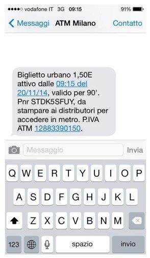 Un esempio di un biglietto acquistato via sms