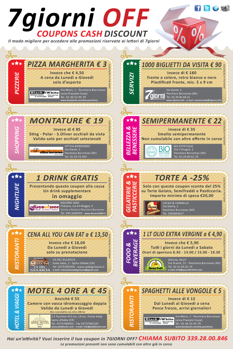 I coupons del 1 Aprile 2015