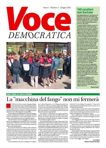 La prima pagina di Voce Democratica