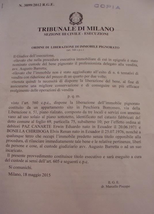L'ordine di sgombero del Tribunale di Milano