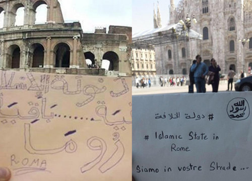 Due delle foto caricate dai presunti terroristi su twitter