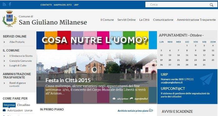 La nuova home page del sito del Comune di San Giuliano