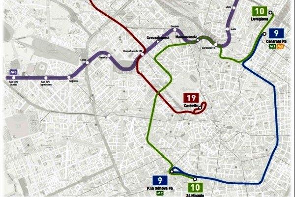 Il percorso della nuova linea 10 del tram