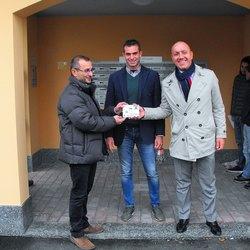 Nell'ordine, da destra, il Sindaco Paolo Bianchi, il Committente Daniele Pizzamiglio e l'architetto Romolo Pugliese