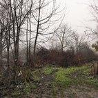 La strada accanto alla recinzione del rifugio che porta al fiume Lambro