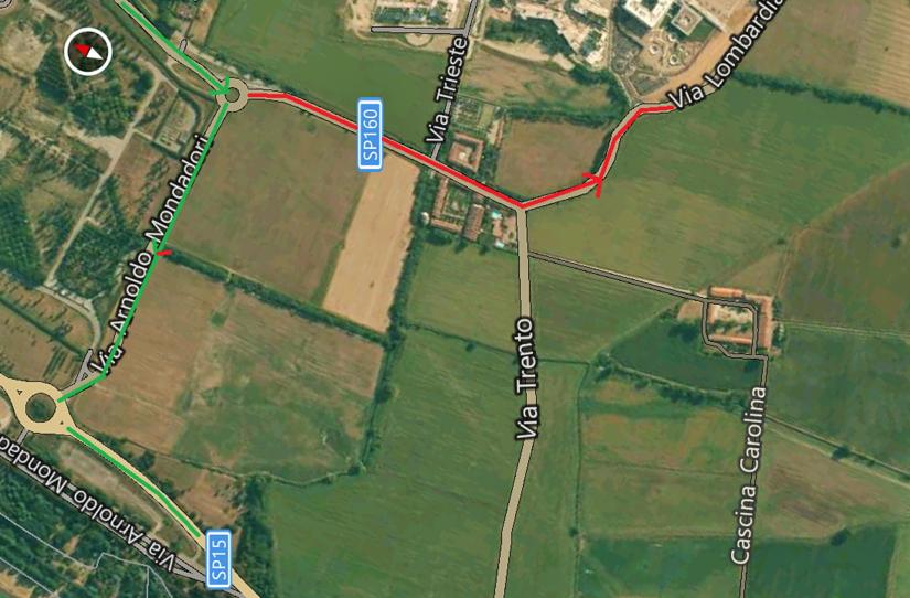 In verde il tragitto corretto che dovrebbero percorrere i mezzi pesanti in direzione Peschiera Borromeo