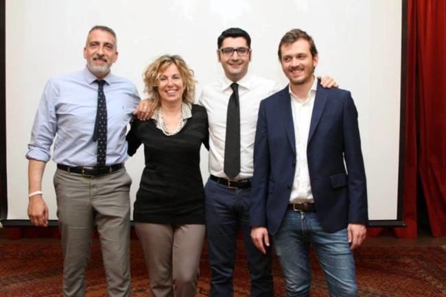 Da sx: Gennaro Piraina, Giovanna Bugada, Alessandro Lorenzano e Jacopo Saladini, coordinatore del Pd locale
