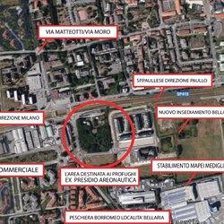 L'area cerchiata di rosso indica il luogo dove verranno accolti i migranti