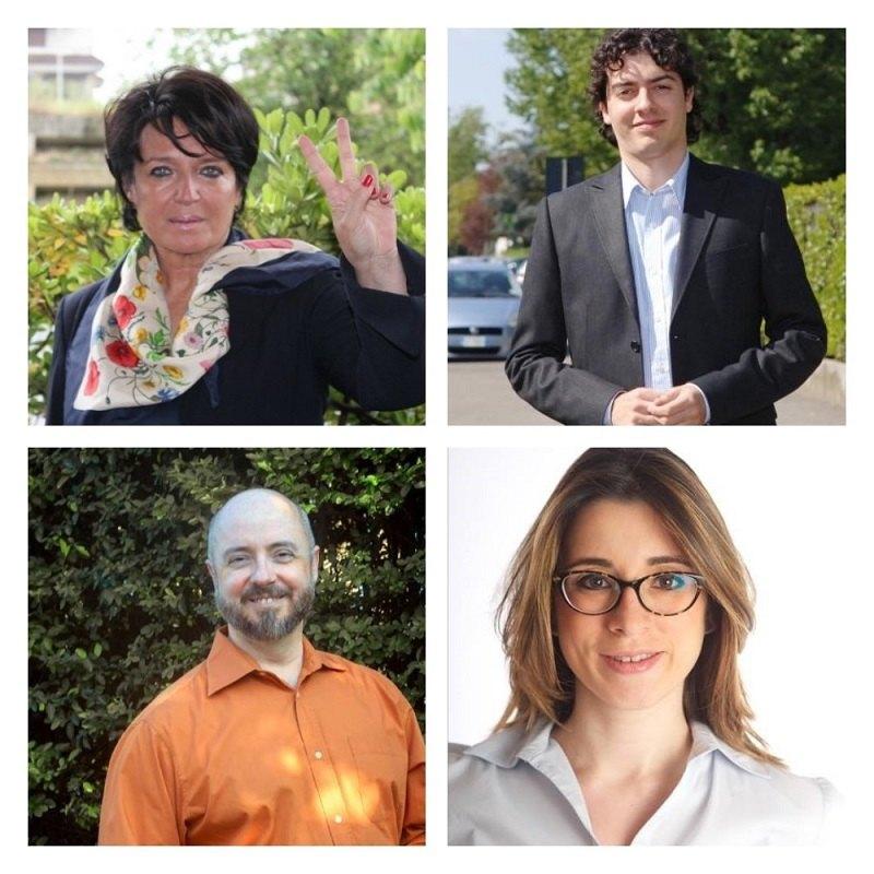 In alto da sinistra in senso orario: Carla Bruschi, Luca Zambon, Davide Toselli e Caterina Molinari