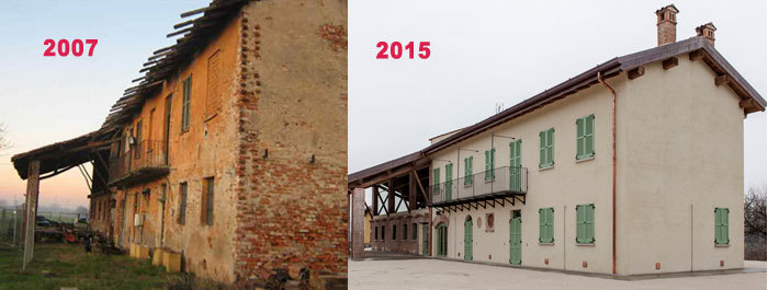 La cascina prima e dopo la ristrutturazione