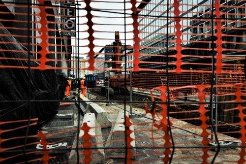 Foto del cantiere per la linea 4 in corso Europa