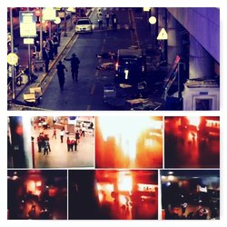 In alto l'esterno dell'Aeroporto Ataturk dove si è fatto esplodere un kamikaze, in basso fotogrammi di un'altro attacco