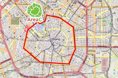 la Cerchia dei Bastioni che segna l'inizio dell'Area C