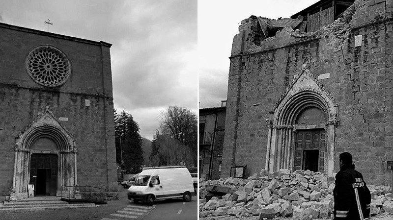 La chiesa di San Francesco ad Amatrice, prima e dopo il sisma