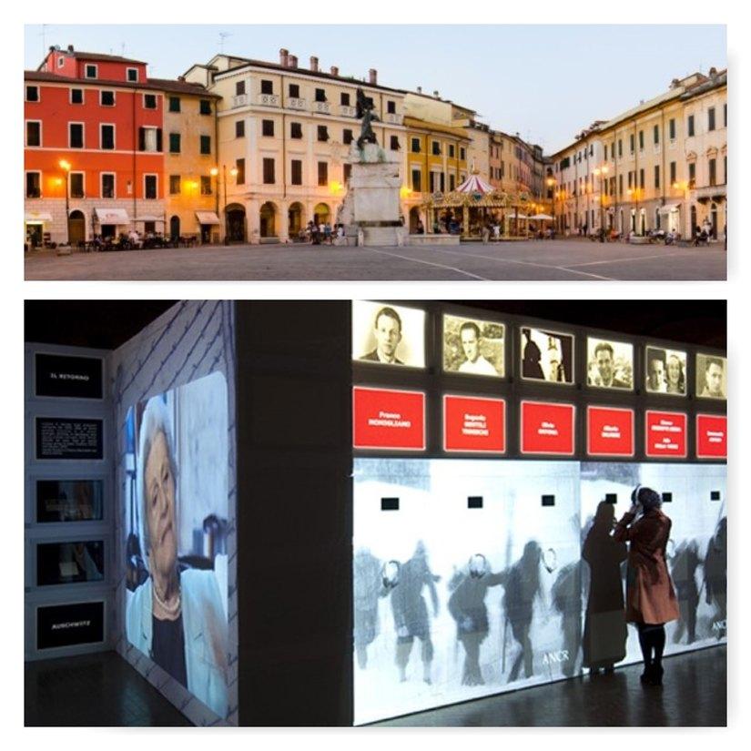 Da basso verso l'alto: il Museo Audiovisivo della Resistenza e il centro di Sarzana