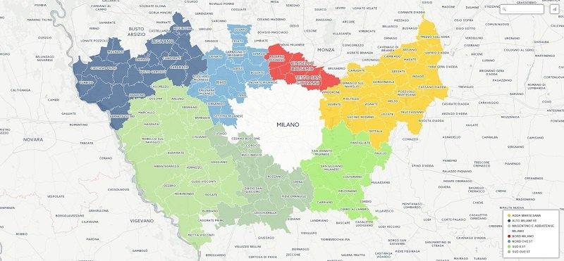 La mappa della Città Metropolitana di Milano