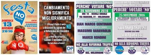 Gli apppuntamenti dei sostenitori del No alla Riforma Costituzionale