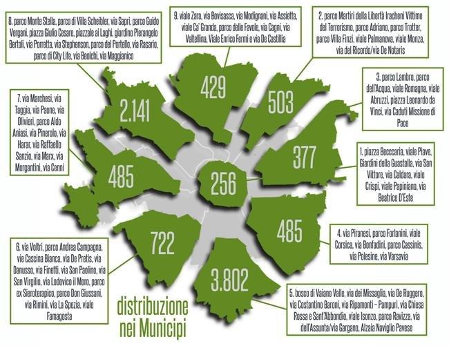 La mappa delle piantumazioni suddivisa per ogni Municipio
