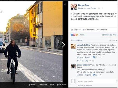 Il sindaco Sala in bicicletta e invita i cittadini a fare altrettanto