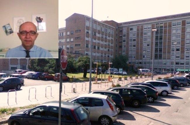 Nel riquadro il dottor Corrada. Sullo sfondo l'ospedale Predabissi di Vizzolo