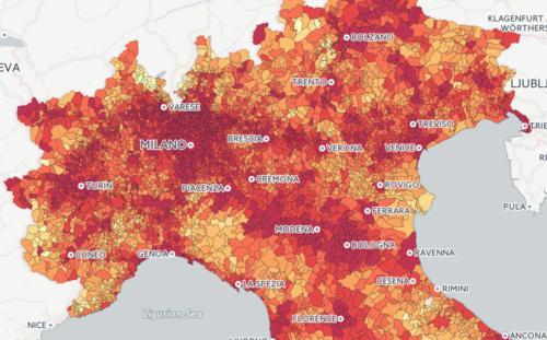 Più intensa è la colorazione rossa, maggiore è il reddito medio pro capite