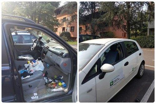 Due delle vetture vandalizzate