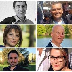 Da sx in alto: Andrea Checchi, Cesare Mannucci, Gina Falbo, Marco Menichetti, Nicola Forenza, Desirèe Giuliano