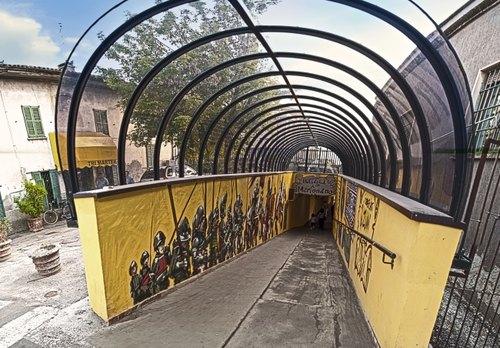 L'ingresso al sottopasso di Melegnano