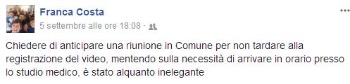Il post su Facebook del Consigliere Costa e sotto le richieste di scuse del Dott. Di Palma
