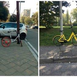 A sx una bici di Mobike in via Di Vittorio a San Donato