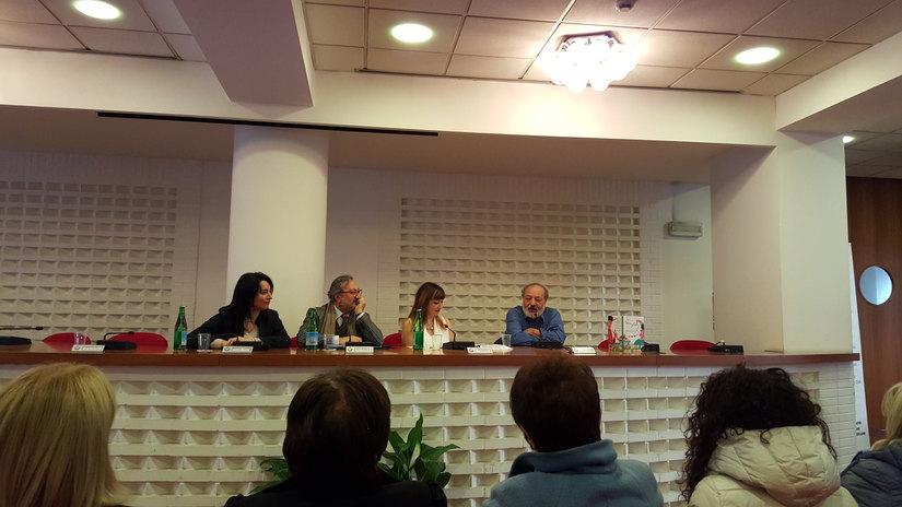 Ilaria Cerqua, Nino Stillittano, Eva Musci, Roberto Piumini alla presentazione del Festival Voci della Storia nelle Scuole