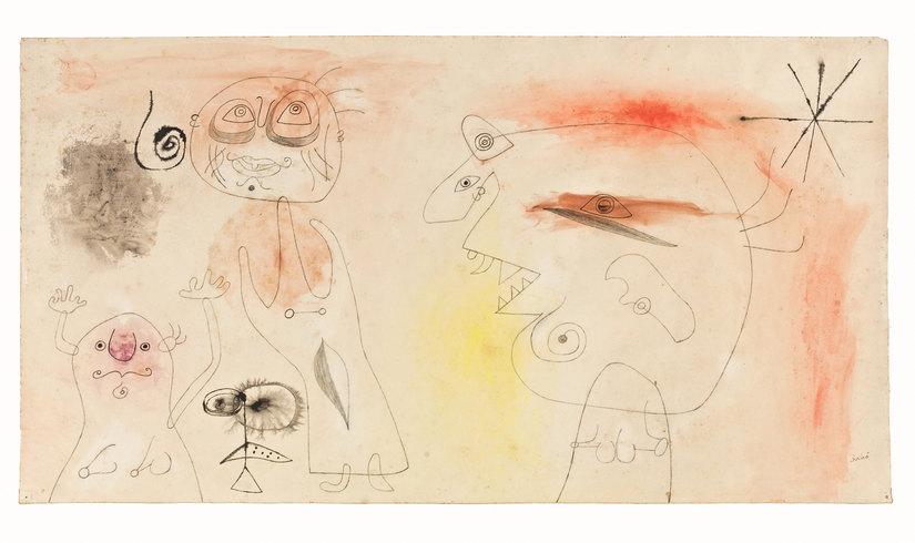 Joan Miró Donne, uccello, stelle , 1942 Matita,     matita     morbida,     pastello,  inchiostro di china e acquerello su carta,  cm 42,5 x 79 , Collezione privata © Successió Miró by SIAE 2016