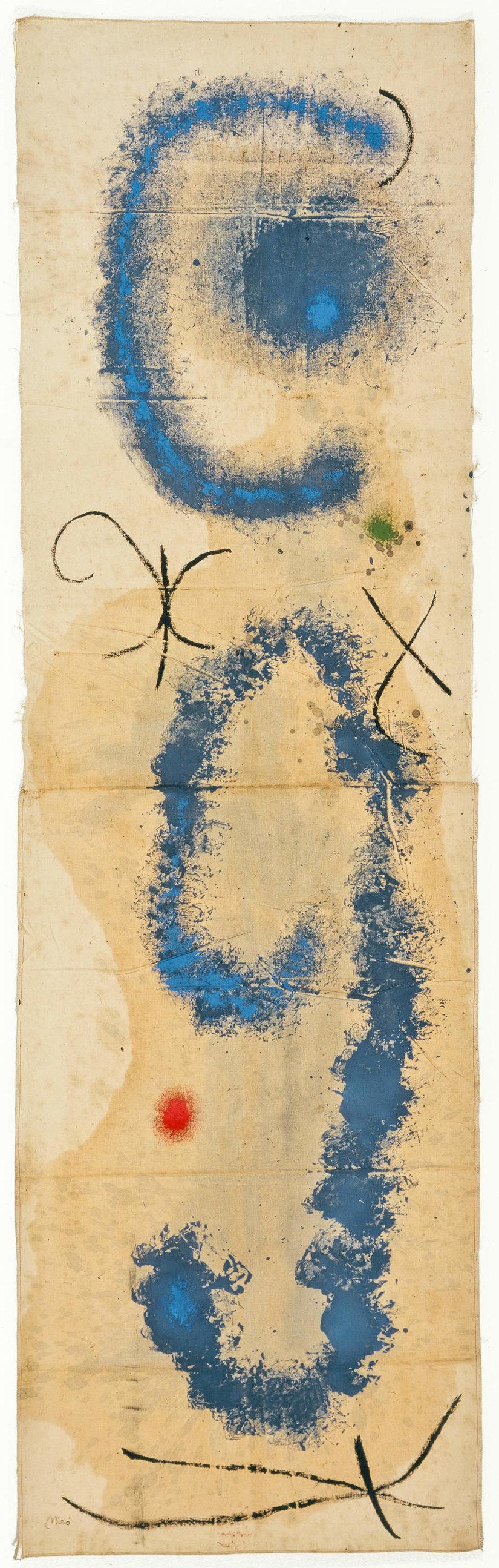 Joan Miró Dipinto , 1962 Olio su stoffa, cm 229 x 67 Collezione privata © Successió Miró by SIAE 2016