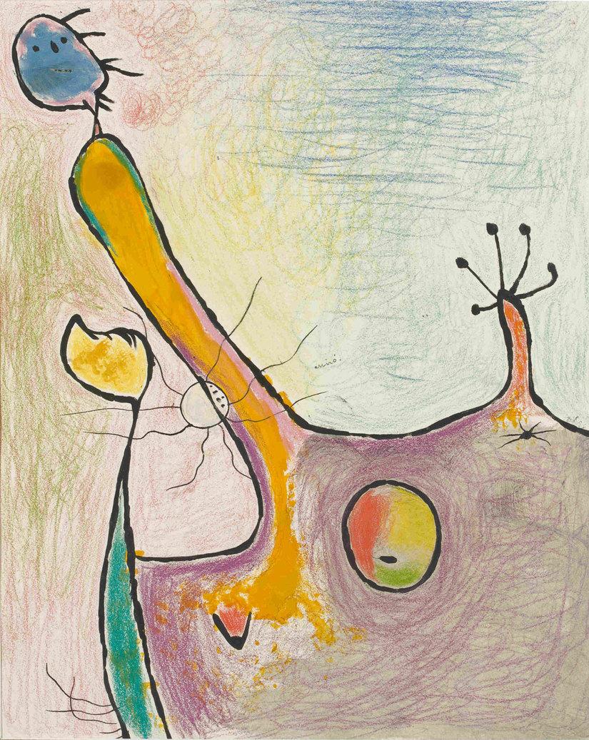 Joan Miró Donna , 1938 Matita  colorata,  pastello,  inchiostro  di  china e guazzo su carta, cm 41 x 33 Collezione privata © Successió Miró by SIAE 2016