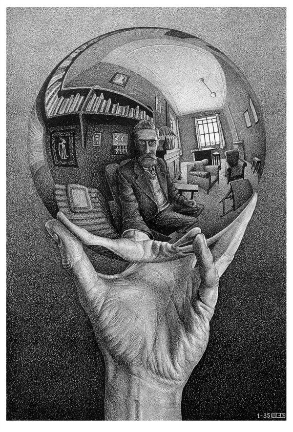 Maurits Cornelis Escher, Mano con sfera riflettente, 1935, Litografia, 31,1x21,3 cm  Fondazione M.C. Escher  All M.C. Escher works © 2016 The M.C. Escher Company The Netherlands. All rights reserved  www.mcescher.com