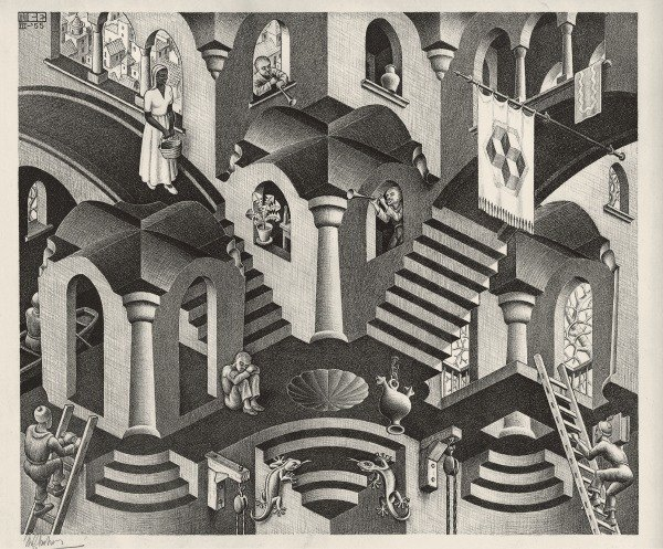 Maurits Cornelis Escher, Convesso e concavo, Marzo 1955, Litografia, 27,5x33,5 cm Collezione Giudiceandrea Federico All M.C. Escher works © 2016 The M.C. Escher Company. All rights reserved www.mcescher.co