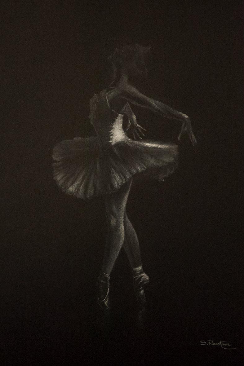 danseur blanc II, pastello bianco su cartoncino, 35x50, 2016 Canosso