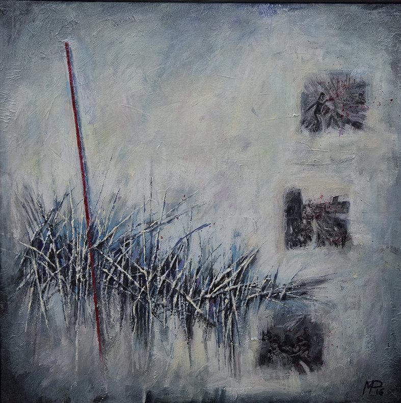 Terzo classificato: Marco Paciello, Paesaggio difficile, 60x60 cm, tecnica mista su tela, 2016