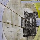 Luigi Profeta, Concetto spazio temporale - archittettura industriale, tecnica mista su tela,
