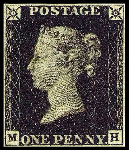 Il Penny Black, primo francobollo della storia.