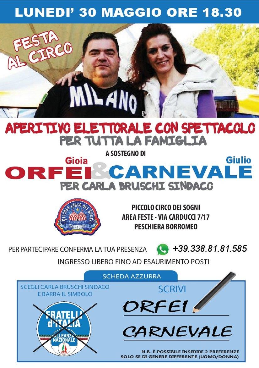 Il volantino dell'aperitivo elettorale di Gioia Orfei e Giulio Carnevale al circo