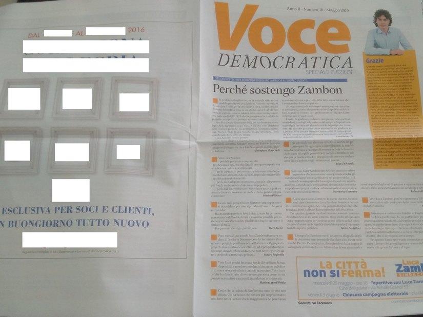 Voce Democratica con la pubblicità della grande distribuzione