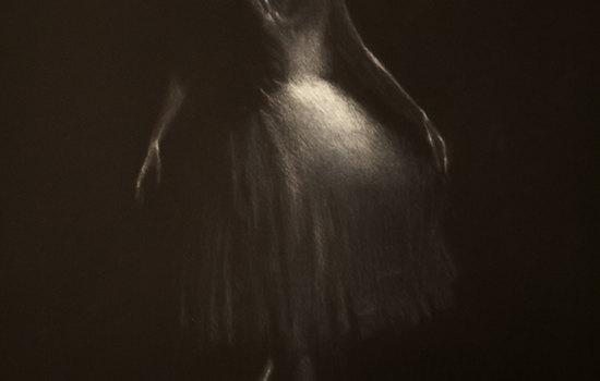 danseur blanc I, pastello bianco su cartoncino 35x50, 2016, Canosso