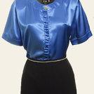 Camicia blu in pura seta italiana